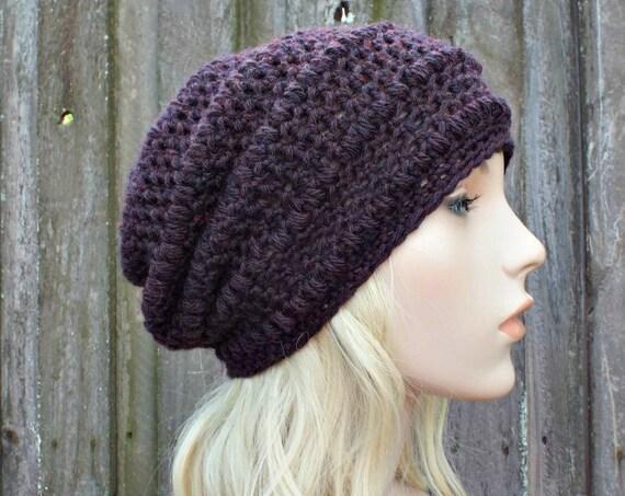 Dark Purple Crochet Hat Purple Hat Purple Beanie Womens Hat - Penelope Puff Stitch Slouchy Beanie Hat - Purple Winter Hat - READY TO SHIP