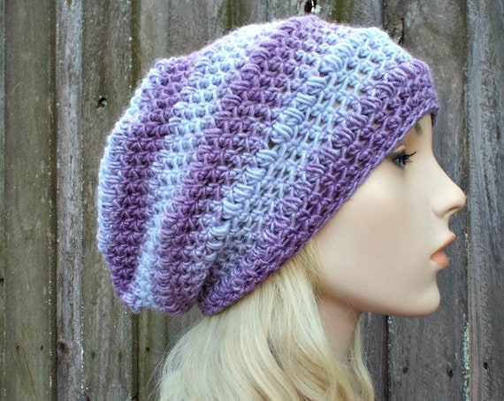Purple Womens Hat - Penelope Puff Stitch Slouchy Beanie Hat Purple Crochet Hat - Purple Hat Purple Beanie Purple Winter Hat - READY TO SHIP