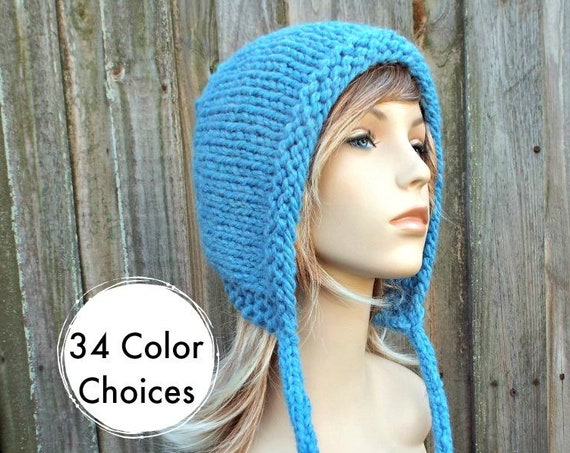Sky Blue Knit Hat - Blue Aviator Hat Blue Adult Bonnet - Blue Knit Hood with Ties - Blue Womens Hat Blue Winter Hat - 34 Color Choices