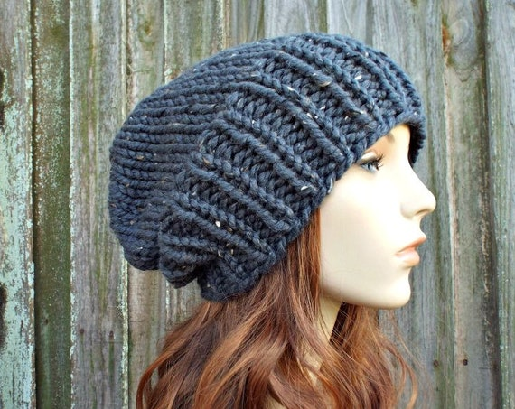 Womens Mens Chunky Knit Hat Fall Fashion Warm Winter Hat Knit Accessories - Adaline Slouchy Beanie in Graphite Grey Tweed