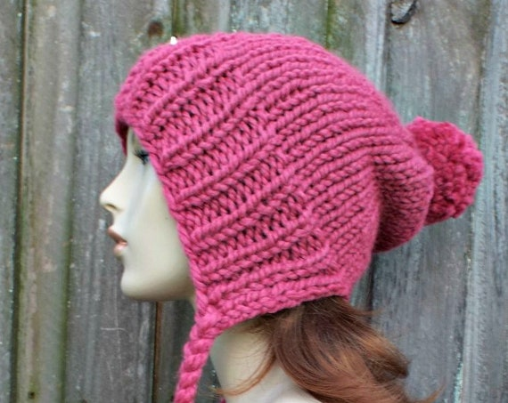 Raspberry Pink Slouchy Hat Chunky Knit Hat Womens Hat Pink Hat Pink Beanie - Charlotte Slouchy Ear Flap Hat - Winter Hat - READY TO SHIP