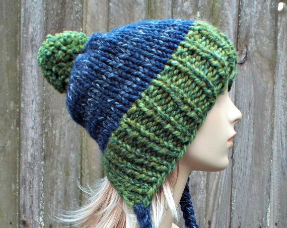 Chunky Knit Hat Womens Green and Blue Pom Pom Hat - Slouchy Ear Flap Beanie Braided Ties Warm Winter Hat - Charlotte