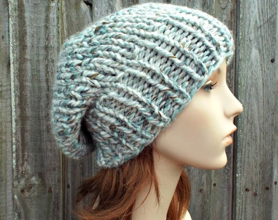 Chunky Knit Hat Women Fall Fashion Warm Winter Mens Hat Knit Accessories - Adaline Slouchy Beanie in Sea Glass Cream Blue