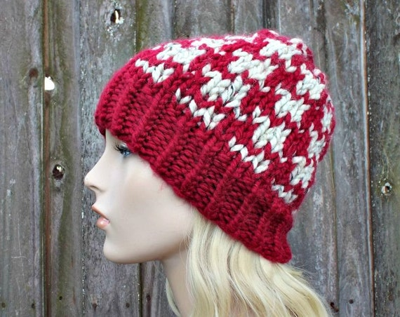 Houndstooth Beanie - Red and Oatmeal Mens Or Womens Knit Hat - Warm Winter Beanie - Red Hat Red Beanie - READY TO SHIP