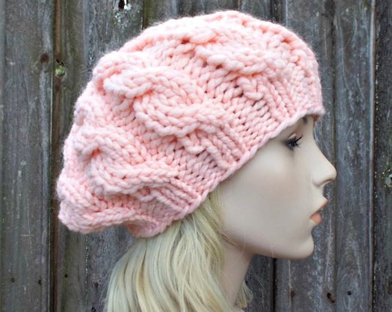 Womens Chunky Knit Hat - Pale Peach Cable Beret - Peach Hat Peach Beret - Fall Fashion Warm Winter Hat Knit Accessories