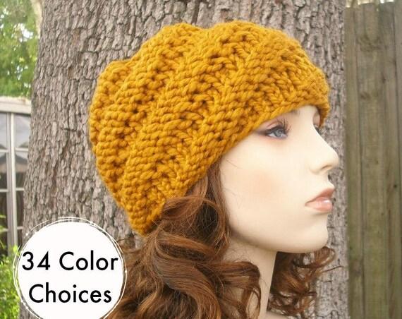 Mustard Womens Hat - Swirl Beanie Mustard Yellow Knit Hat - Mustard Hat Mustard Beanie Yellow Hat Winter Hat