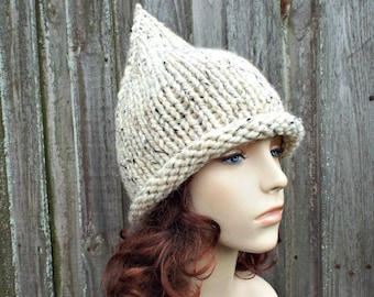 0fdde37cf65 Oatmeal Witch Hat Oatmeal Gnome Hat Oatmeal Knit Hat - Chunky Knit Hat  Womens Oatmeal Hat Oatmeal Winter Hat Fall Fashion