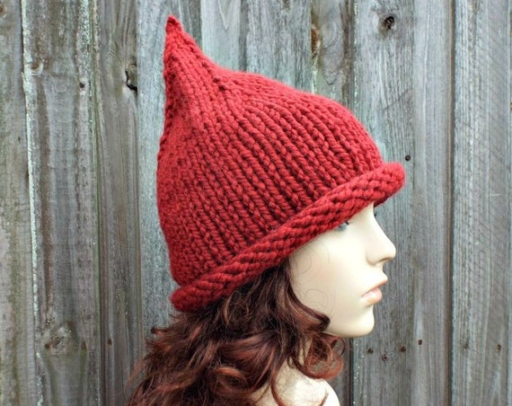 Russet Red Witch Hat Red Gnome Hat Red Knit Hat - Chunky Knit Hat Womens Red Hat Red Winter Hat Fall Fashion