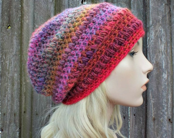 Crochet Hat Womens Hat - Penelope Puff Stitch Slouchy Beanie Hat - Aurora Blue Pink Yellow - Womens Accessories Winter Hat - READY TO SHIP