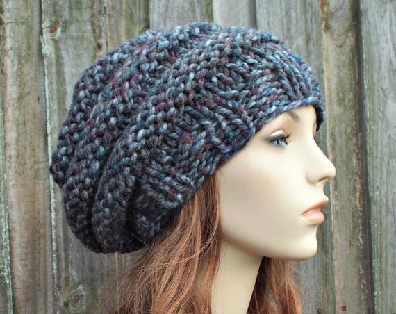 Chunky Knit Hat Womens Rainbow Grey Oversized Beehive Beret Hat in Abalone - Grey Hat Grey Beret Grey Beanie Warm Winter Hat - READY TO SHIP