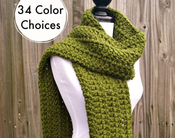 Womens Oversized Crochet Chunky Scarf - New Englander Olive Green Scarf - Womens Accessories Fall Fashion Winter Scarf