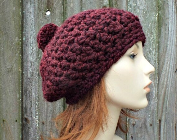 Claret Wine Red Crochet Hat Red Womens Hat Slouchy Hat - Pom Pom Beret Red Crochet Hat - Red Hat Red Beret Red Beanie