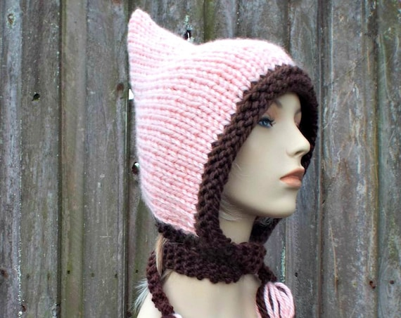 Pink Womens Hat - Chocolate Brown and Pink Pixie Hat Pink Knit Hat - Pink Hat Pink Hood Pink Ear Flap Hat Winter Hat - Large Adult Pixie Hat