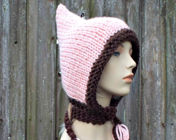 Pink Womens Hat - Chocolate Brown and Pink Pixie Hat Pink Knit Hat - Pink Hat Pink Hood Pink Ear Flap Hat Winter Hat - READY TO SHIP