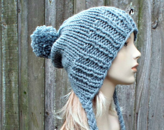 Slate Grey Womens Pom Pom Hat - Grey Hat Grey Ear Flap Hat Grey Slouchy Beanie Grey Beanie Grey Winter Hat - Charlotte