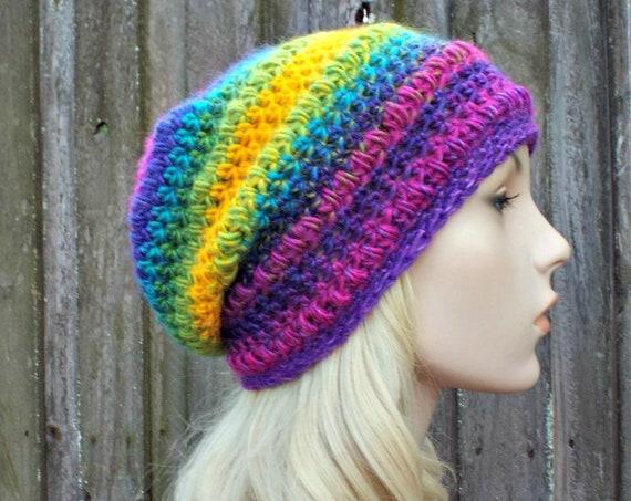 Crochet Hat Womens Hat - Penelope Puff Stitch Slouchy Beanie Hat - Rainbow Beanie Rainbow Hat - Winter Hat - READY TO SHIP