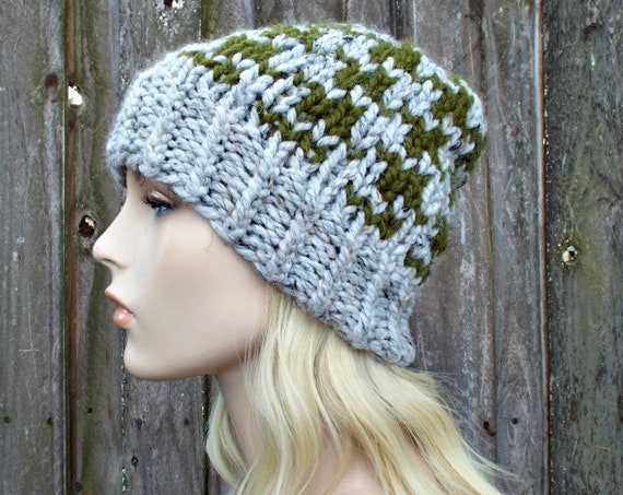 Houndstooth Beanie - Grey and Green Mens Or Womens Knit Hat - Warm Winter Beanie - Grey Hat Grey Beanie - READY TO SHIP