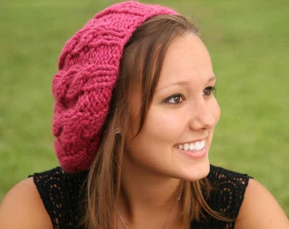 Chunky Knit Hat Women Raspberry Beret - Pink Cable Beret Hat Pink Knit Hat - Pink Hat Pink Beret Pink Beanie