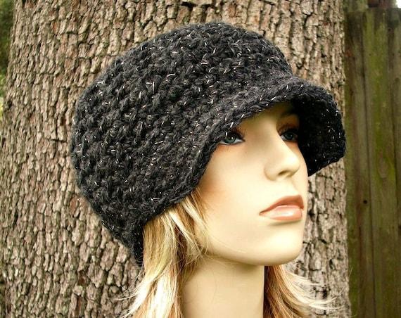 Crochet Hat Womens Hat Grey Newsboy Hat - Jockey Cap Constellation Charcoal Grey - Crochet Newsboy Hat - Crochet Hat - Womens Accessories