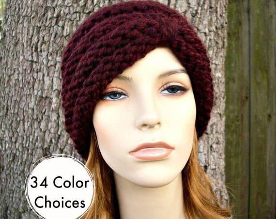 Hand Knit Hat Womens Hat - Turban Hat Red Beanie Red Wine Knit Hat - Claret Hat Red Hat Womens Accessories Winter Hat