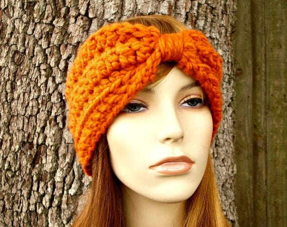 Pumpkin Orange Turban Headband - Orange Headband Orange Earwarmer Womens Headband - Crochet Accessories