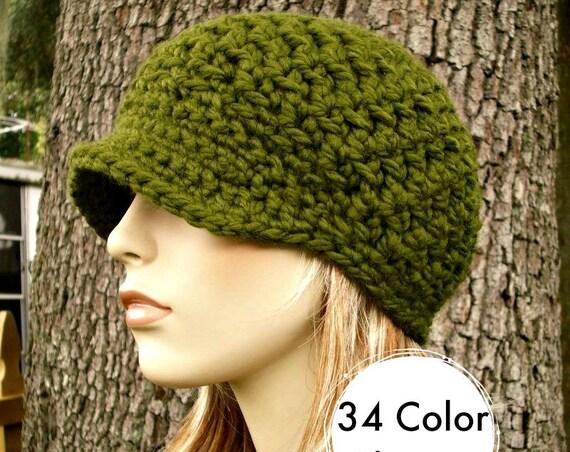 Olive Green Newsboy Hat Crochet Hat Womens Hat - Jockey Cap - Green Hat Green Beanie Crochet Newsboy Hat - Winter Hat