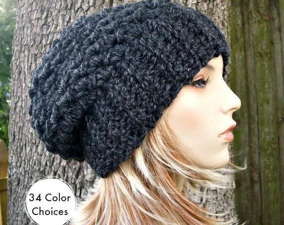 Charcoal Grey Slouchy Hat Crochet Hat Womens Hat Slouchy Beanie Chunky Hat - Souffle Beret - Grey Hat Grey Beanie
