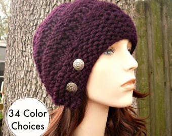 Knit Hat Womens Hat - Hybrid Swirl Cloche Hat in Eggplant  Purple Knit Hat -  Purple Hat Womens Accessories Winter Hat - 34 Color Choices