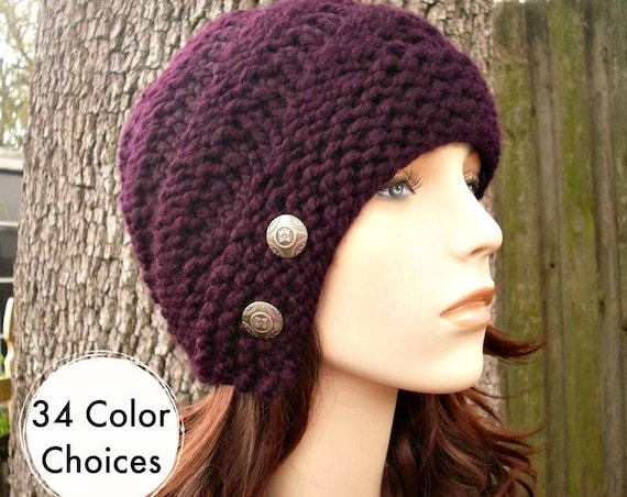 Knit Hat Womens Hat - Hybrid Swirl Cloche Hat in Eggplant  Purple Knit Hat -  Purple Hat Womens Accessories Winter Hat