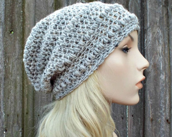 Tweed Grey Oatmeal Crochet Hat Grey Hat Grey Beanie Womens Hat - Penelope Puff Stitch Slouchy Beanie - Grey Winter Hat - READY TO SHIP
