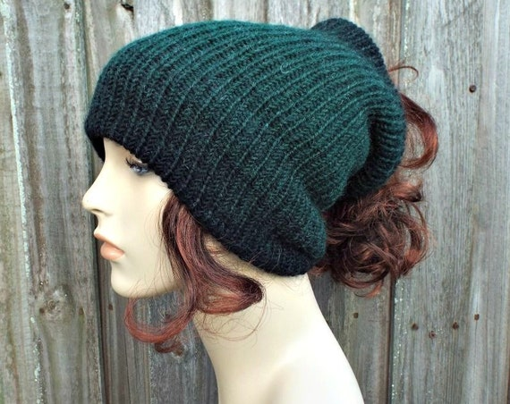 Black and Green Double Knit Tube Hat For Dreads - Messy Bun Hat Dread Beanie Dreadlock Headband Head Wrap Head Sock - 19 Color Choices