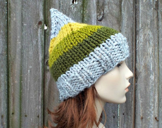 Chunky Knit Hat Womens Hat - Striped Gnome Hat in Grey Willow Trunk - Green Gnome Hat Green Hat Green Beanie Knit Accessories Winter Hat