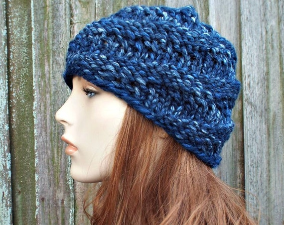 Chunky Knit Hat Womens River Run Blue Hat - Swirl Beanie Blue Knit Hat - Blue Hat Blue Beanie Knit Accessories Winter Hat - READY TO SHIP