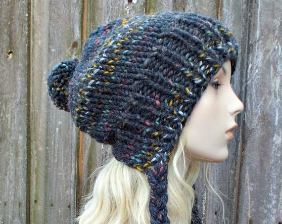 Chunky Knit Hat Womens Rainbow Grey Slouchy Pom Pom Hat - Ear Flap Beanie Braided Ties Warm Winter Hat - Charlotte - READY TO SHIP