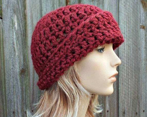 Crochet Hat Womens Hat 1920s Flapper Hat - Garbo Cloche Hat - Red Hat Red Beanie Merlot Hat Merlot Beanie Winter Hat