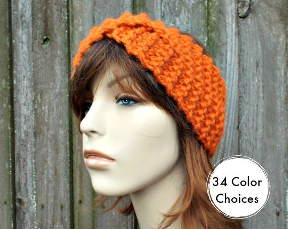 Twisted Turban Knitted Headband in Pumpkin Orange - Orange Headband Orange Earwarmer Womens Headwrap - Knit Accessories