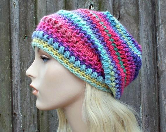 Crochet Hat Womens Hat - Penelope Puff Stitch Slouchy Beanie Hat - Ferris Wheel Rainbow Beanie Rainbow Hat - Winter Hat - READY TO SHIP