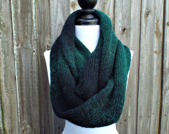 Double Knit Infinity Scarf Womens Knit Scarf - Forest Green and Black Ombre Cowl - Chunky Knit Scarf Womens Accessories - READY TO SHIP