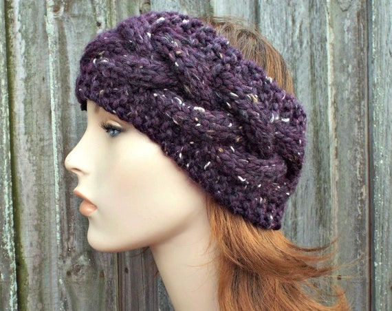 Branch Cable Headband in Tweed Raisin Purple - Purple Headband Purple Earwarmer Womens Headband - Knit Accessories