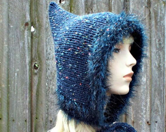 Large Adult Pixie Hat Navy Blue Tweed Pixie Hat With Faux Fur Trim, Long Ties Large Pom Poms - Chunky Knit Womens Hat - READY TO SHIP