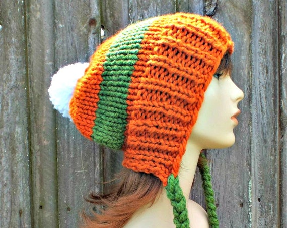 Chunky Knit Hat Womens Orange Pumpkin Pom Pom Hat - Slouchy Ear Flap Beanie With Braided Ties Warm Winter Hat - Charlotte