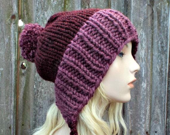 Chunky Knit Hat Womens Wine and Purple Pom Pom Hat - Slouchy Ear Flap Beanie Braided Ties Warm Winter Hat - Charlotte