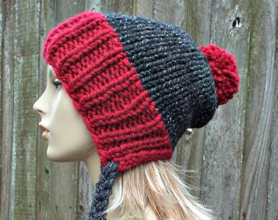 Grey and Red Sparkle Pom Pom Hat - Slouchy Ear Flap Beanie With Braided Ties - Chunky Knit Hat Womens - Charlotte