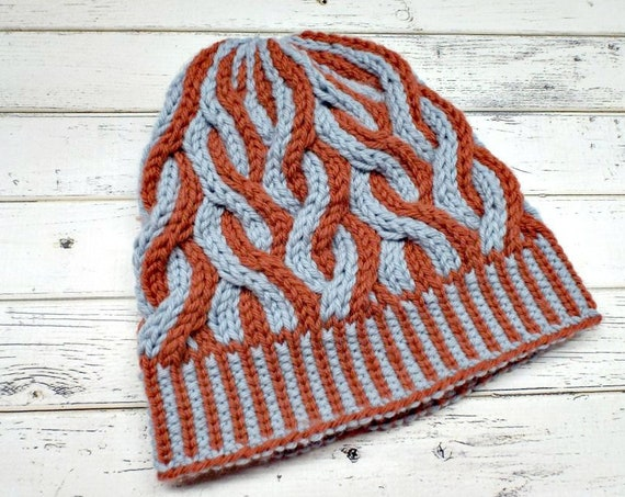 Two Color Cable Beanie - Grey and Orange Womens Beanie Mens Beanie - Cable Hat Orange Hat Grey Hat Warm Winter Hat - Ursula - READY TO SHIP