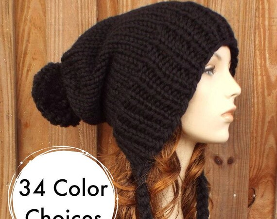 Black Slouchy Knit Hat Womens Hat Black Hat Extra Slouchy Beanie - Charlotte Slouchy Ear Flap Hat Knit Accessories