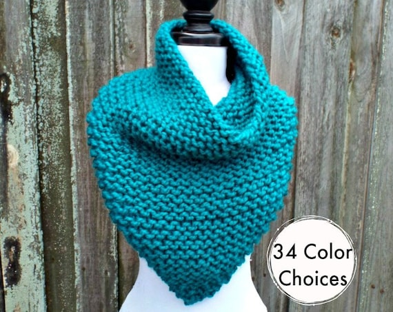 Womens Oversized Bandana Knit Cowl Peacock Blue Scarf - Blue Cowl Chunky Scarf Womens Knit Accessories Chunky Knit Scarf Winter Scarf