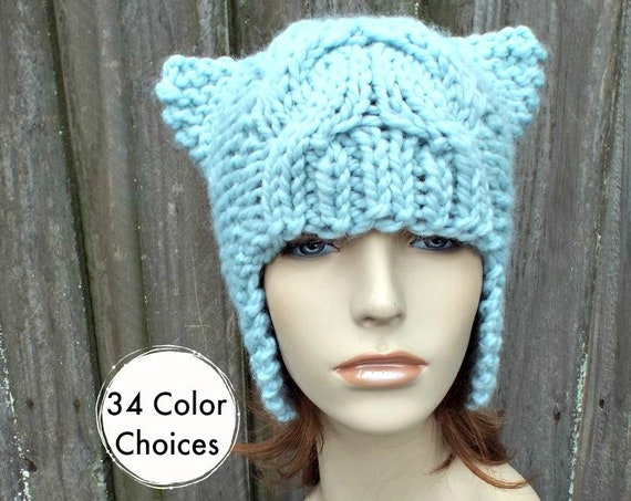 f11b16ac88d ... Beanie Knit Accessories Winter Hat  30.00 Chunky Knit Hat Womens Cable Cat  Hat - Short Dragon Ear Flap Hat - Glacier Blue