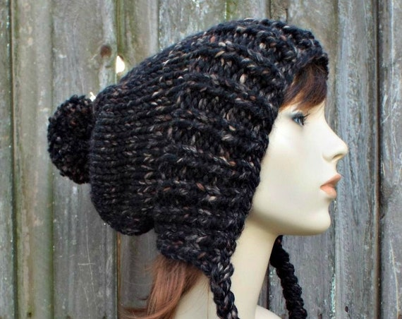 Womens Pom Pom Hat Brown and Black Slouchy Hat Knit Hat Black Hat Black Slouchy Beanie - Charlotte - Black Winter Hat
