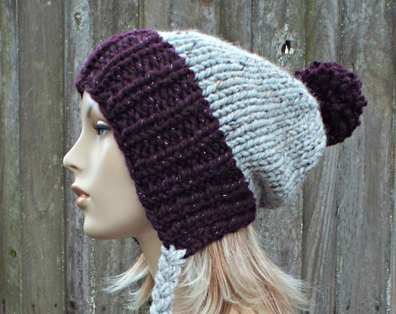 Chunky Knit Hat Womens Purple and Grey Pom Pom Hat - Slouchy Ear Flap Beanie With Braided Ties Warm Winter Hat - Charlotte - READY TO SHIP