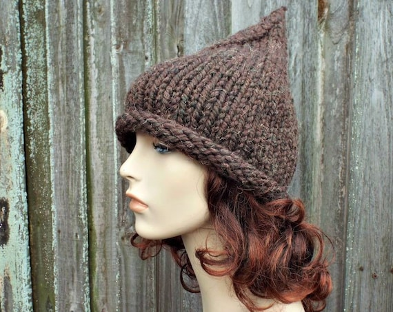 Wood Tweed Brown Witch Hat Brown Gnome Hat Brown Knit Hat - Chunky Knit Hat Womens Brown Hat Brown Winter Hat Fall Fashion
